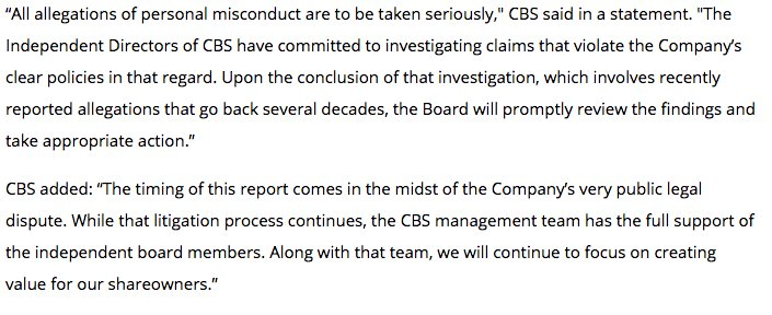 The full CBS statement on Leslie Moonves expose:
