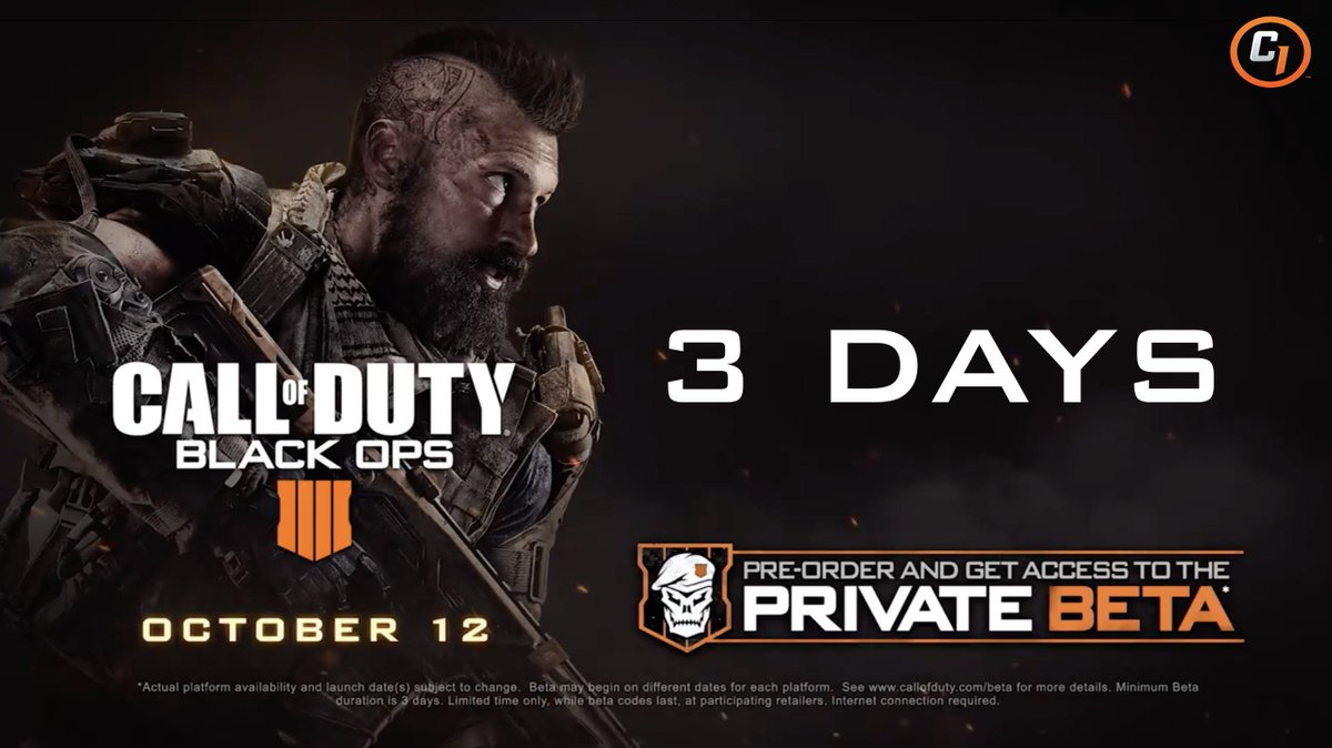 3 days to go till the #BO4Beta begins on PlayStation 4, Xbox One, and PC....