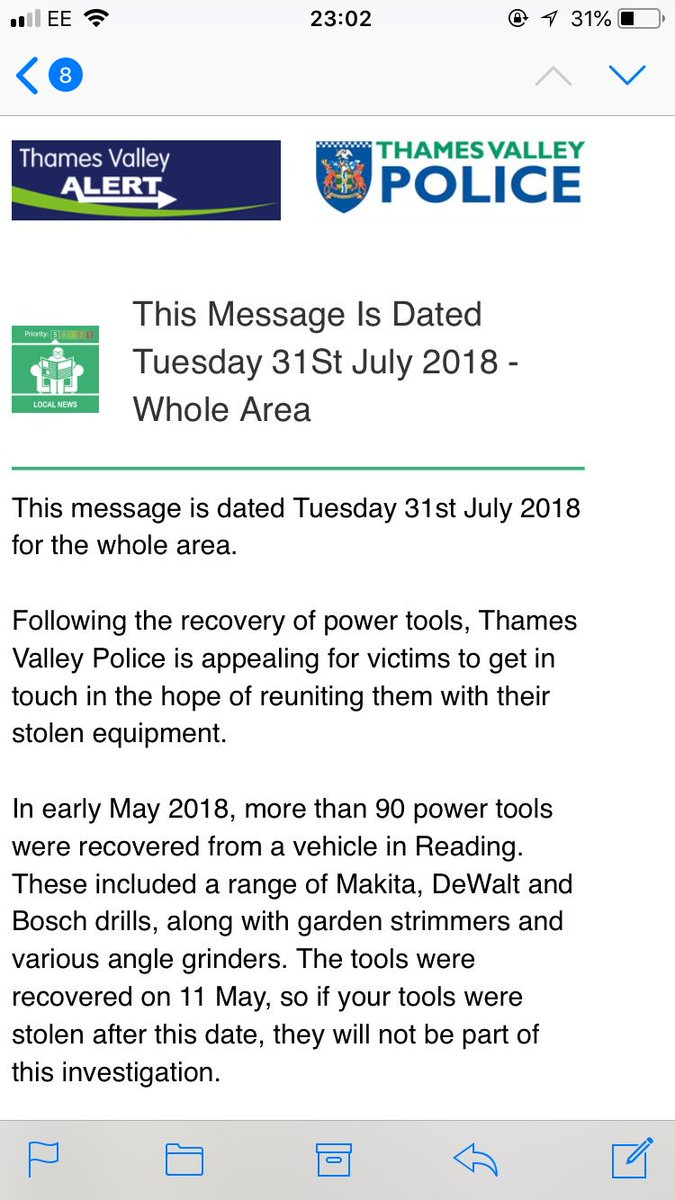 test Twitter Media - RT @BigWipes: Thames Valley Police has recovered a lot of stolen tools... see attached for further details. https://t.co/CxyNZPgRDt