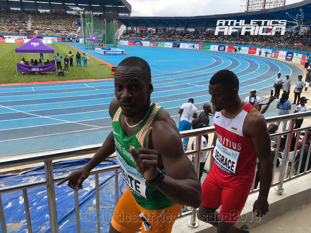 #CIV @MeiteBenYoussef wins Heat 1 of the Men's 100m Round 1 in an unofficial 10.41 secs.  #Asaba2018 #CAAAsaba2018 https://t.co/culWbX4AZT