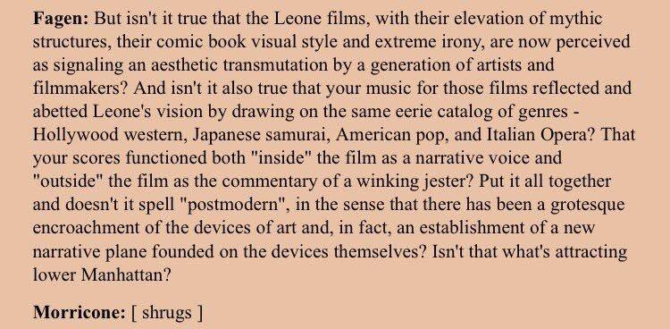 Donald Fagen interviews Ennio Morricone (Premiere mag, 1989) https://t.co/jJaEYkQEe9