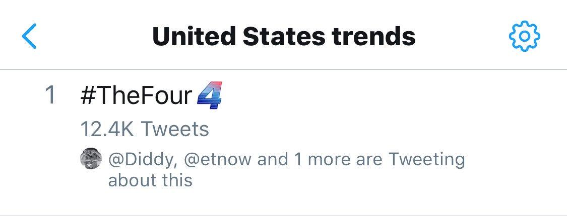 #1 trend yaaaas ???? #thefour @Diddy @Meghan_Trainor @djkhaled https://t.co/YvLsDStEyQ