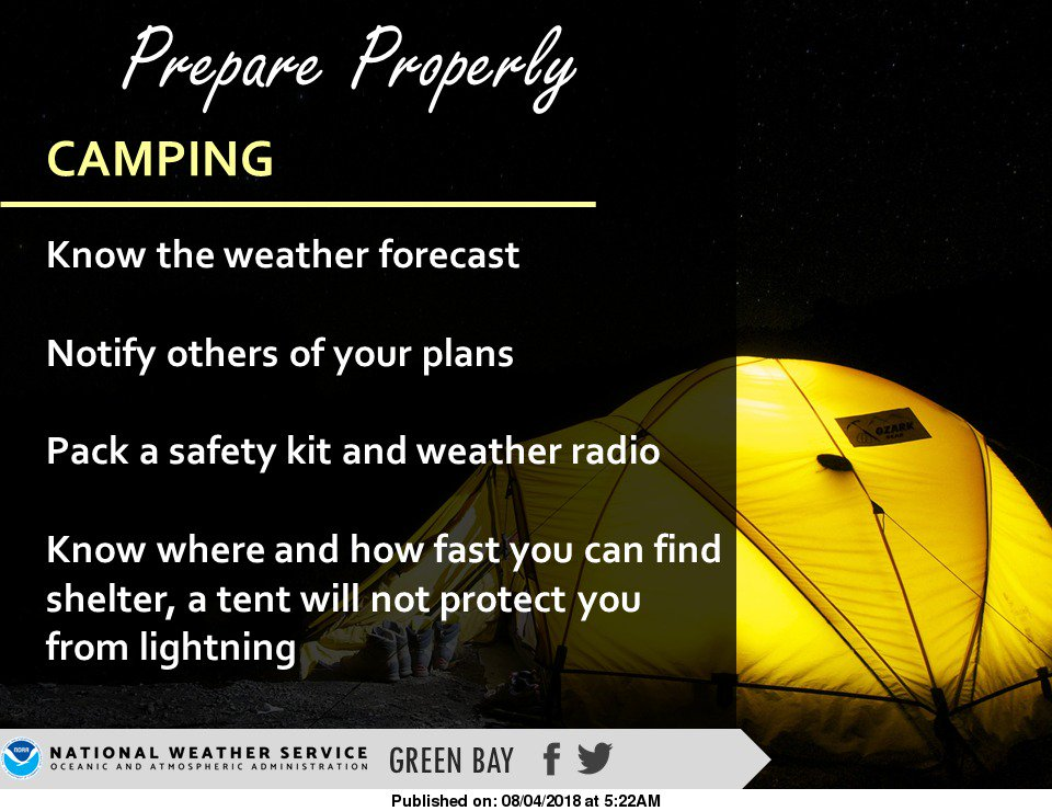 With rounds of active weather anticipated this weekend, take care if you are camping out there! #wiwx https://t.co/2YnCeWndrl