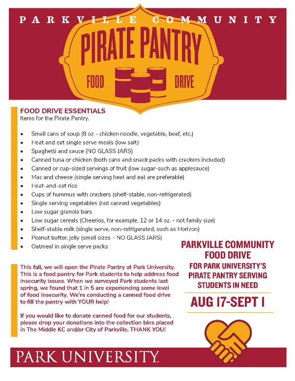 test Twitter Media - Starting today (8/17) @ParkUniversity is hosting @parkvillemo Community Food Drive for Pirate's Pantry to serve students in need. The campaign runs through September 1st. Donation bins are located at City Hall and The Middle KC. https://t.co/aMBfRROQsL