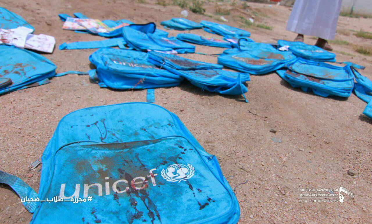 Bloodied schoolbags belonging to children who never came home after an airstrike by the Saudi-led coalition #Yemen.  At least 33 children were killed. Where does Saudi Arabia get most of its arms?  From Britain and the US. https://t.co/Y14OkUmeqE