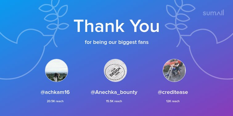 Our biggest fans this week: @achkam16, @Anechka_bounty, @creditease. Thank you! via https://t.co/XYrVWdXplS https://t.co/a6rjB6AWDn