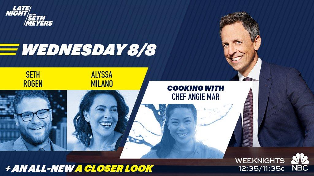 RT @LateNightSeth: TONIGHT! Seth welcomes @Sethrogen, @Alyssa_Milano and @chef_amar! https://t.co/37jN0uKo30