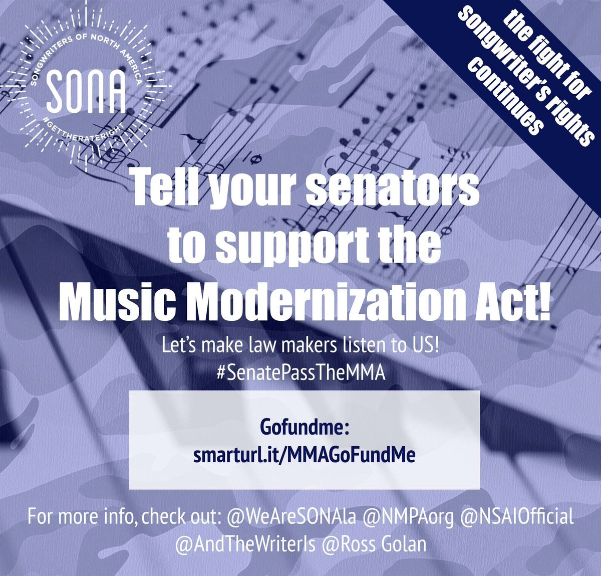 HEY‼️ CALLING ALL SONGWRITERS‼️WE ARE ALMOST AT THE FINISH LINE‼️‼️#MMASenateVote #SenatePassTheMMA ???? https://t.co/eCC7qWBSTa