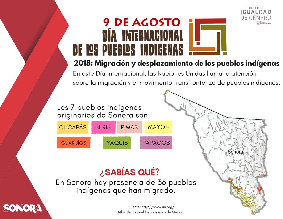 RT @SECSonora: Hoy en las efemérides, conmemoramos el #DíaDeLosPueblosIndígenas.  #SomosIndígenas https://t.co/Tm8mSATLPM