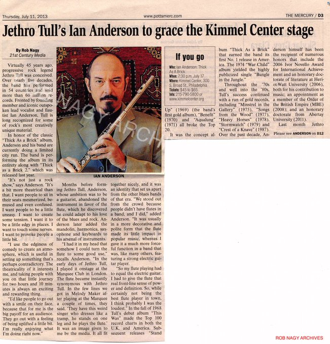 Happy birthday to Jethro Tull\s Ian Anderson.  Rob Nagy Archives