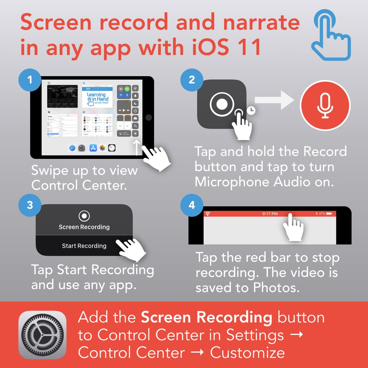 ⏺ With iOS 11 we can record an iPad or iPhone's screen without using a computer. Great for how-tos and think-alouds. https://t.co/pGXOc5F9mC