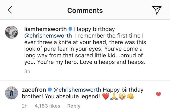 Zac wished Chris Hemsworth happy birthday today on insta