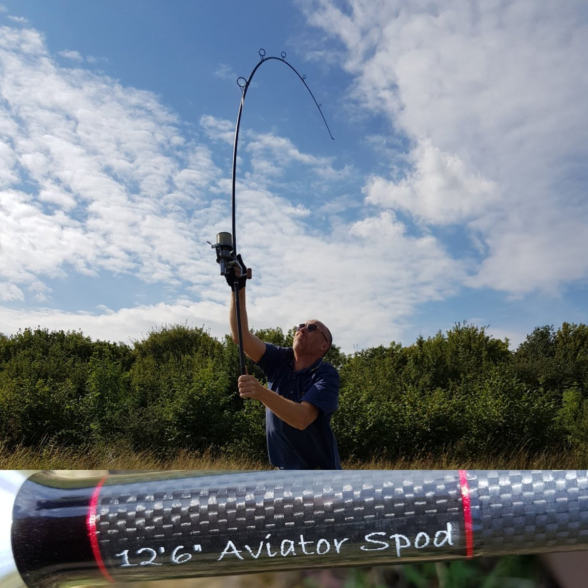 New Harrison Aviator 12ft 6 Spod rod being cast by my client. Really nice rod #carpcasting #carpfish