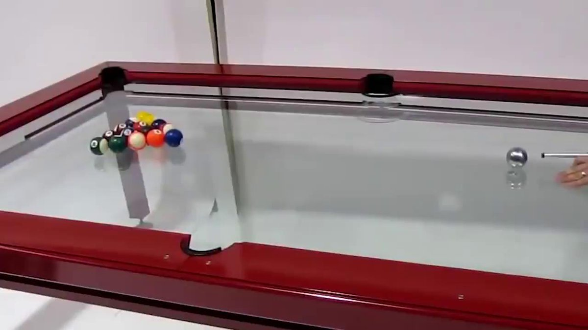 This pool table is made of glass!