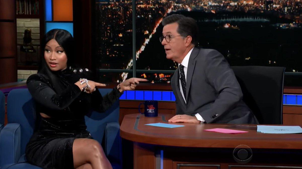 Nicki Minaj Divulges A Very NSFW Bar For Stephen Colbert — And He Was Not Ready