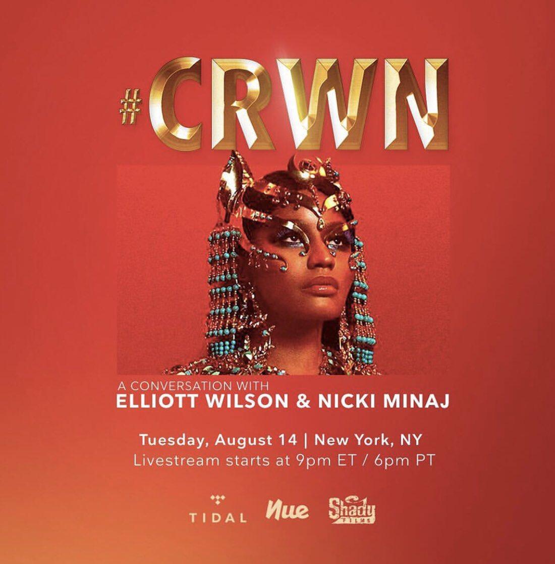 You can live steam @ 9pm EST TONIGHT!!!! @TIDAL @ElliottWilson #CrwnXNickiMinaj https://t.co/iL9PeAbxsn