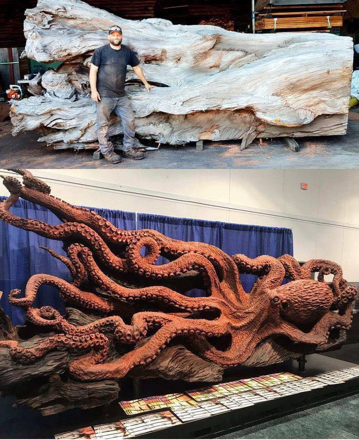 RT @newyorknewart: Carved out of a Redwood Stump using only a chainsaw by Artist Jeffrey Samudosky https://t.co/VHjCmB1aIo