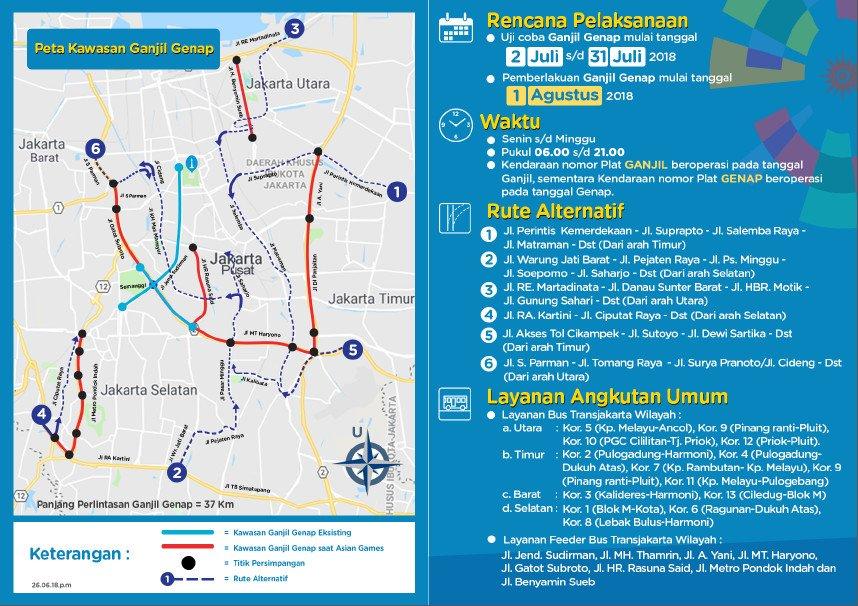 Pemberlakuan Ganjil Genap Asian Games Mulai Tanggal 1 Agustus 2018 Senin s/d Minggu beberapa ruas jalan di Jakarta. https://t.co/4doF3Pijlz