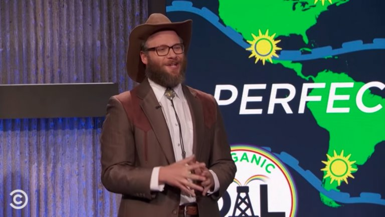 .@Sethrogen replaces Brad Pitt as 'The JimJefferies Show' weatherman
