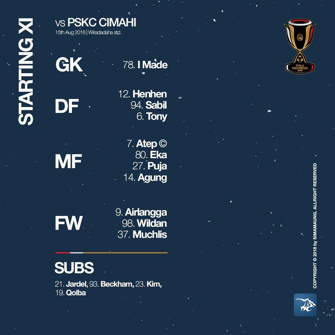 RT @simamaung: Starter Persib Bandung (vs PSKC Cimahi) #PersibDay #PSKCvPRSB https://t.co/256pXvDS0i