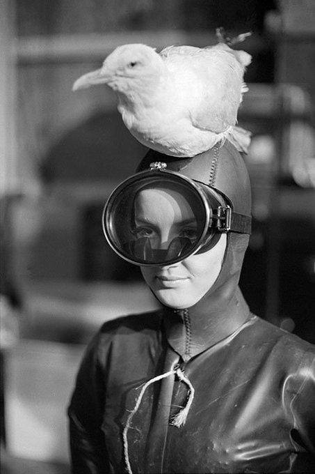 Happy Birthday Barbara Bouchet! Photographed on the set of the James Bond spoof Casino Royale , 1967.
