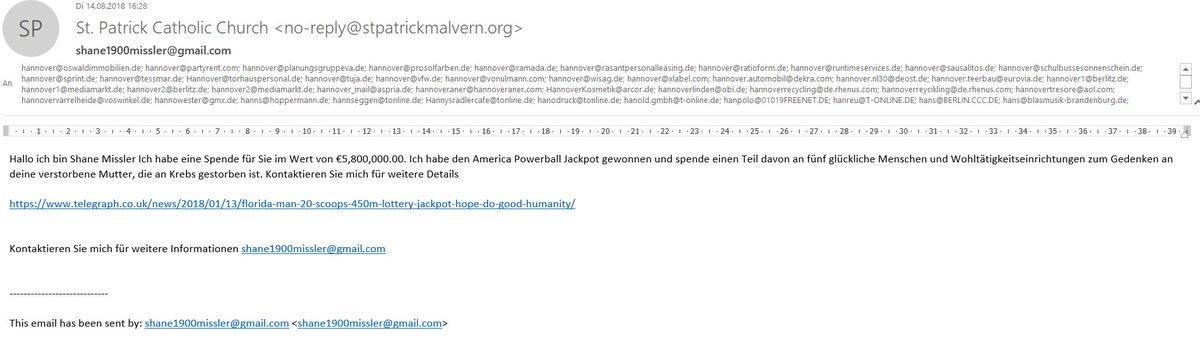 test Twitter Media - wie dämlich muss man sein, um bei einer Scam Mail sämtliche Adressaten sichtbar im Verteiler zu lassen?  Ich denke: SEHR dämlich https://t.co/2GMgcNSK2X