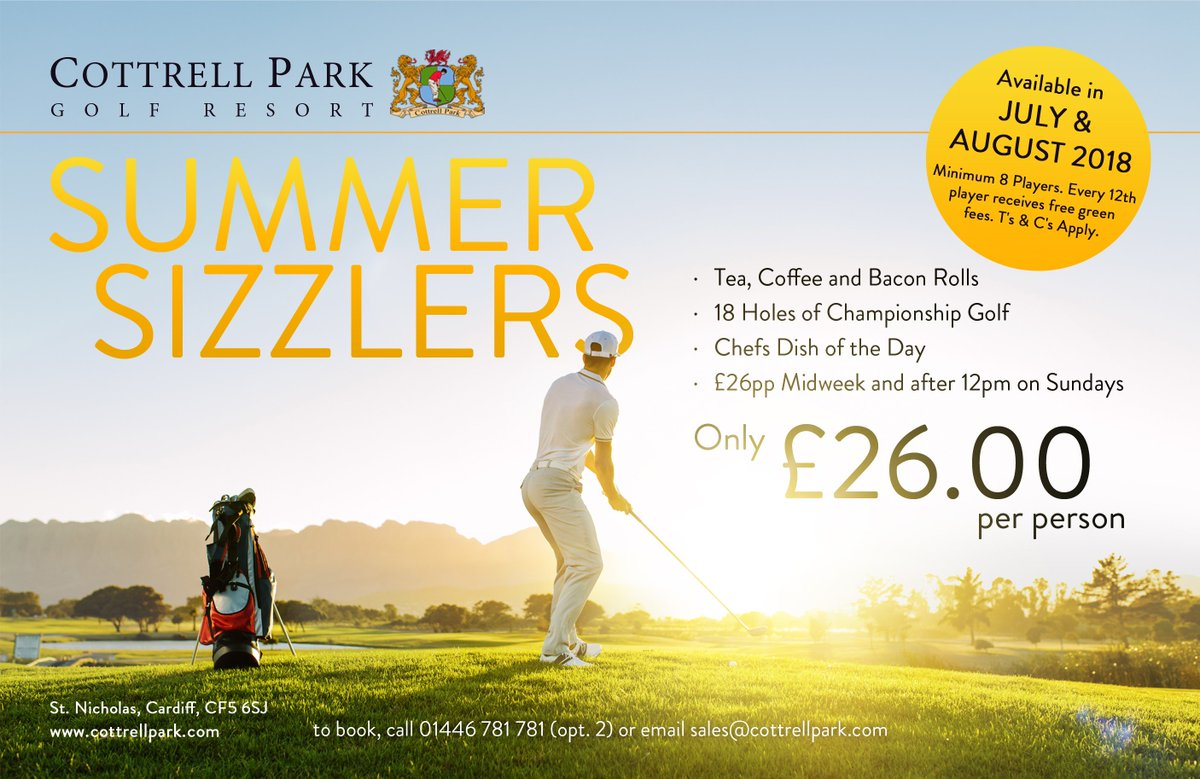 test Twitter Media - Make the most of the remaining Summer days ☀️  Book your 'Summer Sizzler' package for ONLY £26pp  Includes; - Tea, Coffee & Bacon Roll - 18 Holes on Either Course - Chefs Dish of The Day   T: 01446 781781 Option2 E: sales@cottrellpark.com https://t.co/wzs6q4GWoH