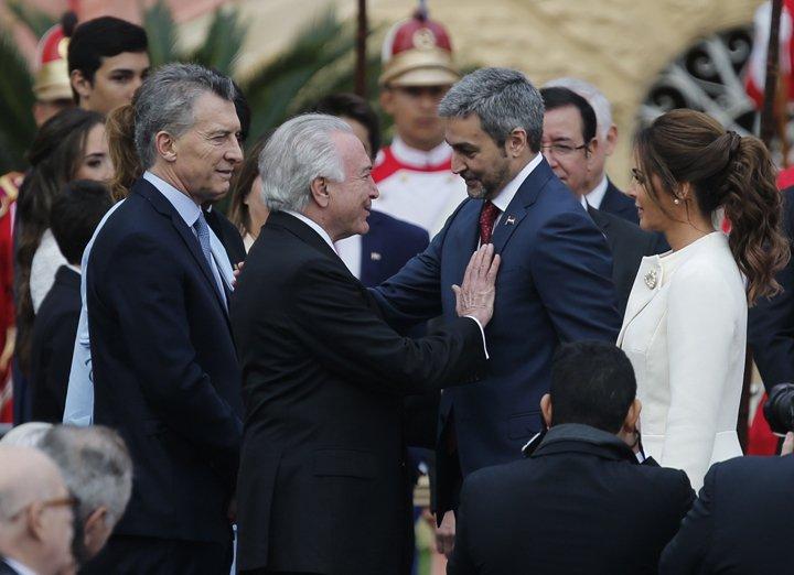 @BroadcastImagem: Temer participa da cerimônia de posse de Mario Benítez, novo presidente do Paraguai. Jorge Saenz/AP