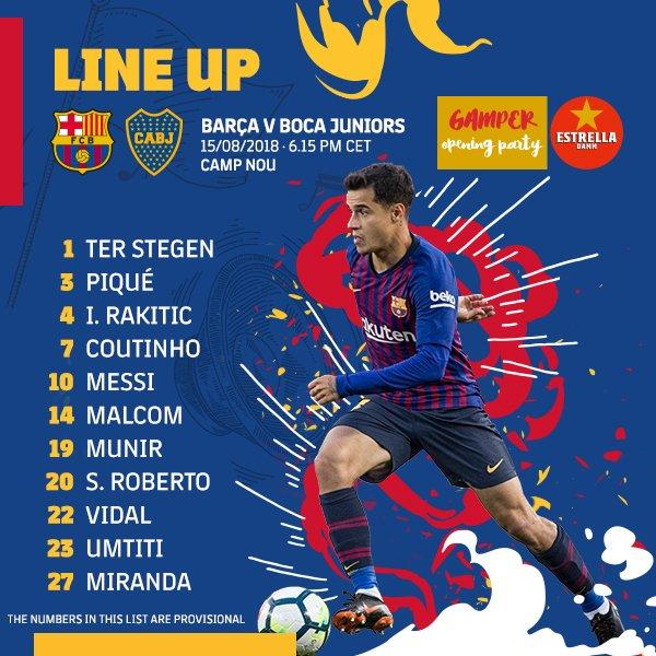 RT @FCBarcelona: ???? XI ???? #GamperBarça ???????? https://t.co/MuWzHN55zE