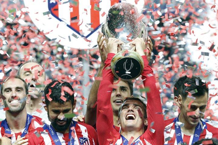 @BroadcastImagem: Atlético de Madrid bate Real na prorrogação e conquista a Supercopa da Europa. Mindaugas Kulbis/AP