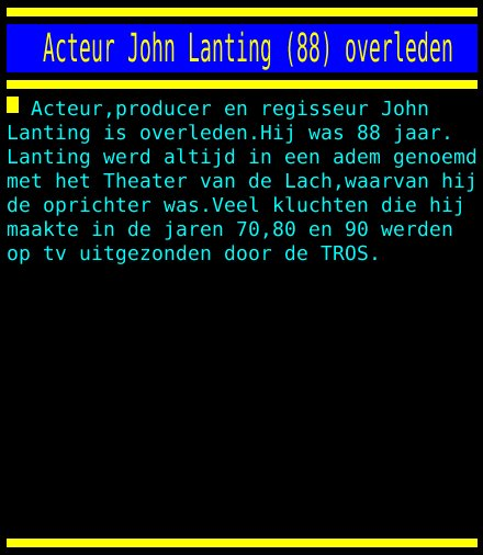 test Twitter Media - Acteur John Lanting (88) overleden https://t.co/T3OvN95eJZ