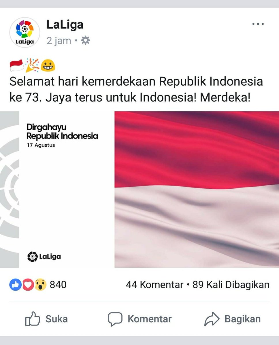 RT @Madrid_Mal: Dari laman facebook nya @LaLiga. #IndonesiaMerdeka #RI73 https://t.co/BQQeyEWjjH