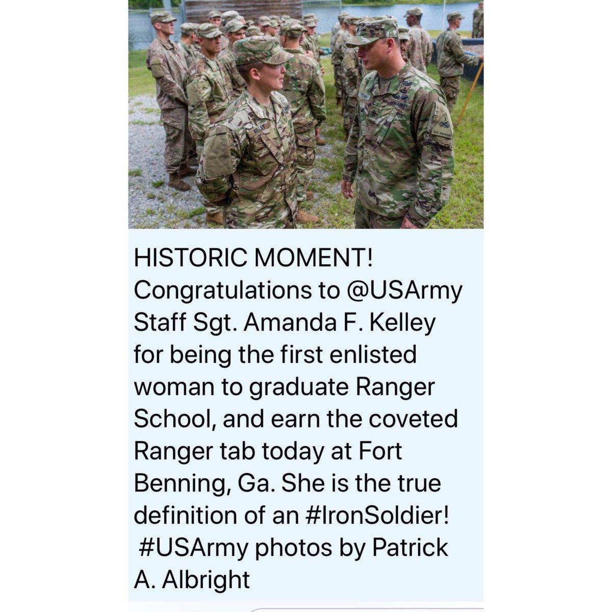 "Staff Sergeant Amanda F. Kelly:congratulations. ""Rangers lead the way!""  Hanx https://t.co/DAf0t4j750"