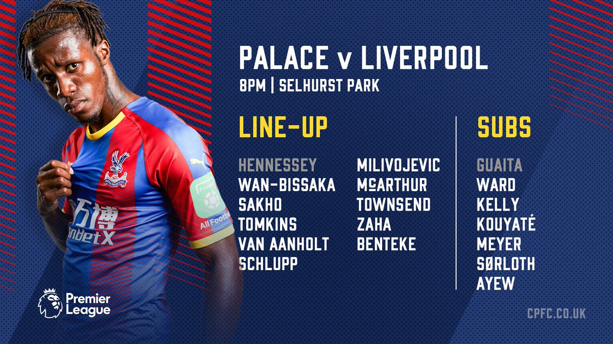 RT @CPFC: Here's the #CPFC 🦅 line-up for tonight's game against Liverpool! #CRYLIV https://t.co/tH1gnGQkm6