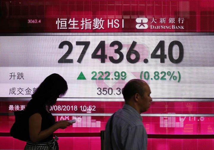 @BroadcastImagem: Bolsas asiáticas sobem majoritariamente, à espera de diálogo entre EUA e China. Vincent Yu/AP