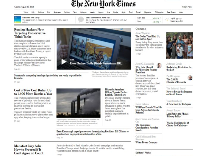 Among the many changes with the new NYT homepage: Reporter bylines are gone. But names of OP-ED writers still there. https://t.co/KruXZYyp6d