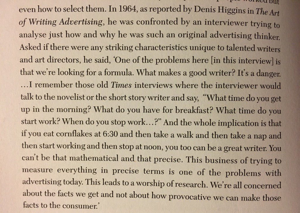 Bernbach on the danger of looking for formulas in advertising   In Real Mad Men by Cracknell https://t.co/0DUOWViNNl
