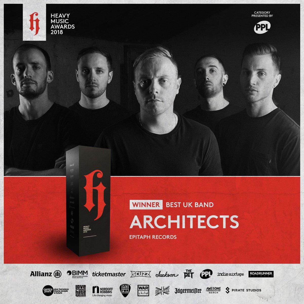 RT @heavymusicawds: #HMA18 #WINNER Best UK Band presented by PPL: Architects  @PPLUK @Architectsuk @epitaphrecords https://t.co/YjX1gDBhE8