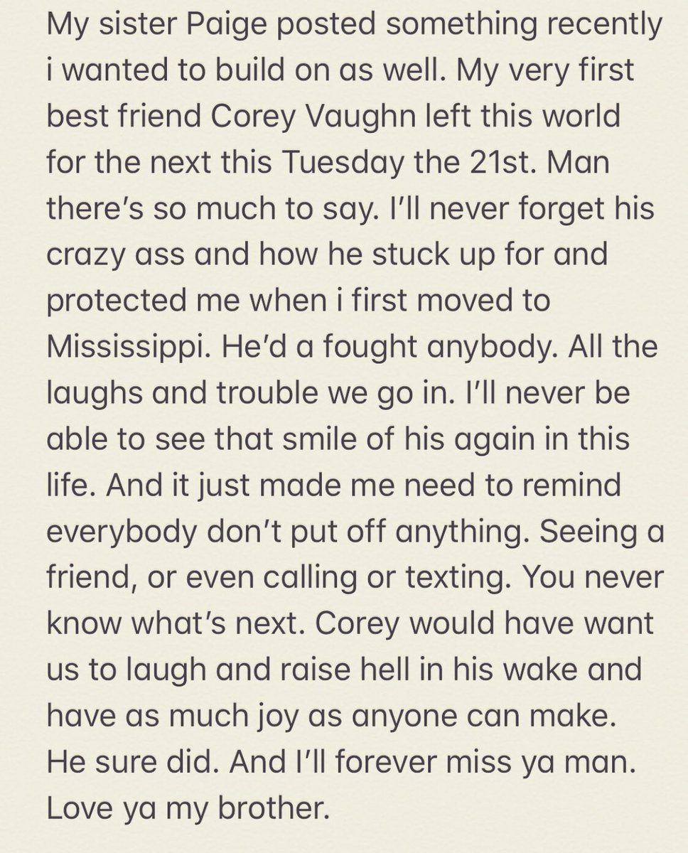 Rip Corey I'll never forget your crazy ass. I love you with all my heart. All my prayers to your beautiful family. https://t.co/DJtJMDXjzp