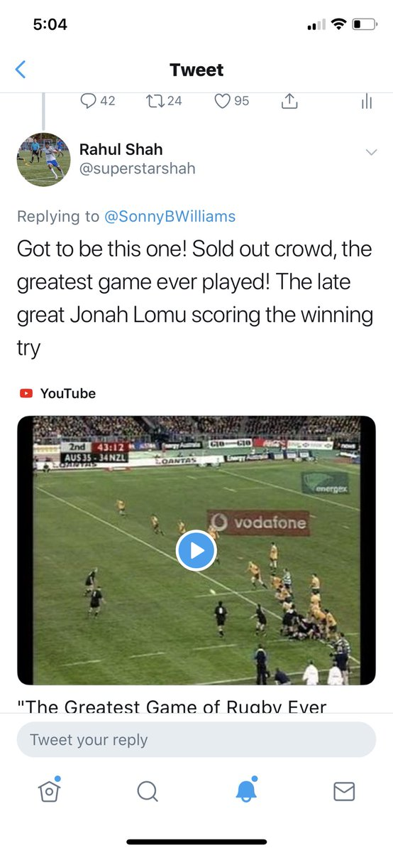 I couldn't go past the legendary Lomu moment in 2000. Congrats Rahul ❤️ enjoy the game https://t.co/un8qo4mZzQ