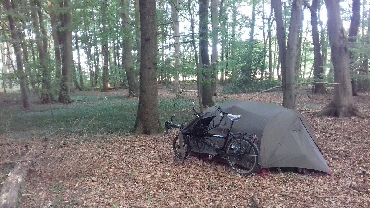Un de nos bivouacs typiques en Allemagne : cachés dans la forêt