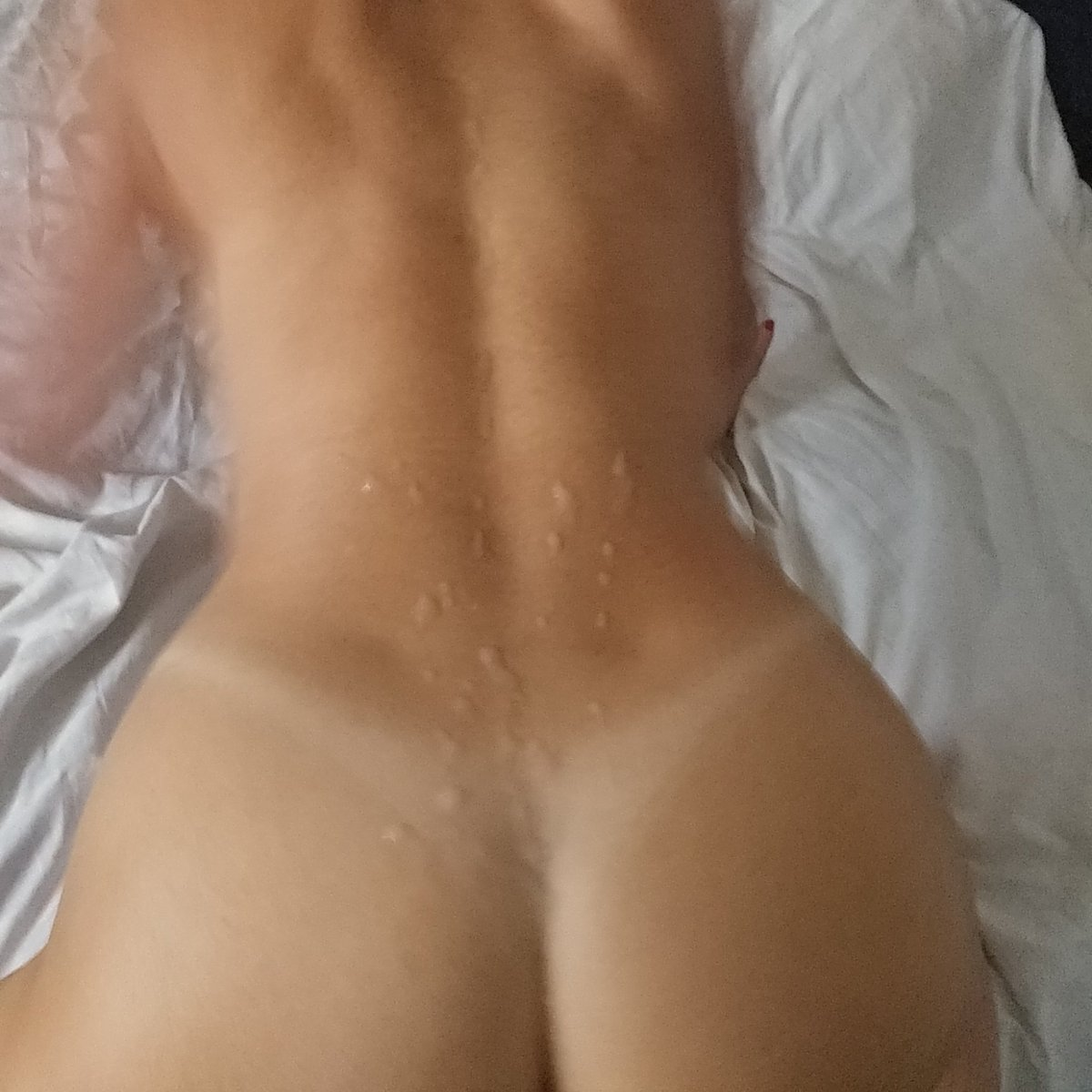 Sunday afternoon,  with a cummy mess  all over my back 😉 aKJiujX7WM