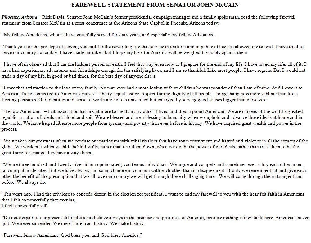 RT @frankthorp: HERE is @SenJohnMcCain's full farewell statement. It's worth a read: https://t.co/BkHfEELxnu