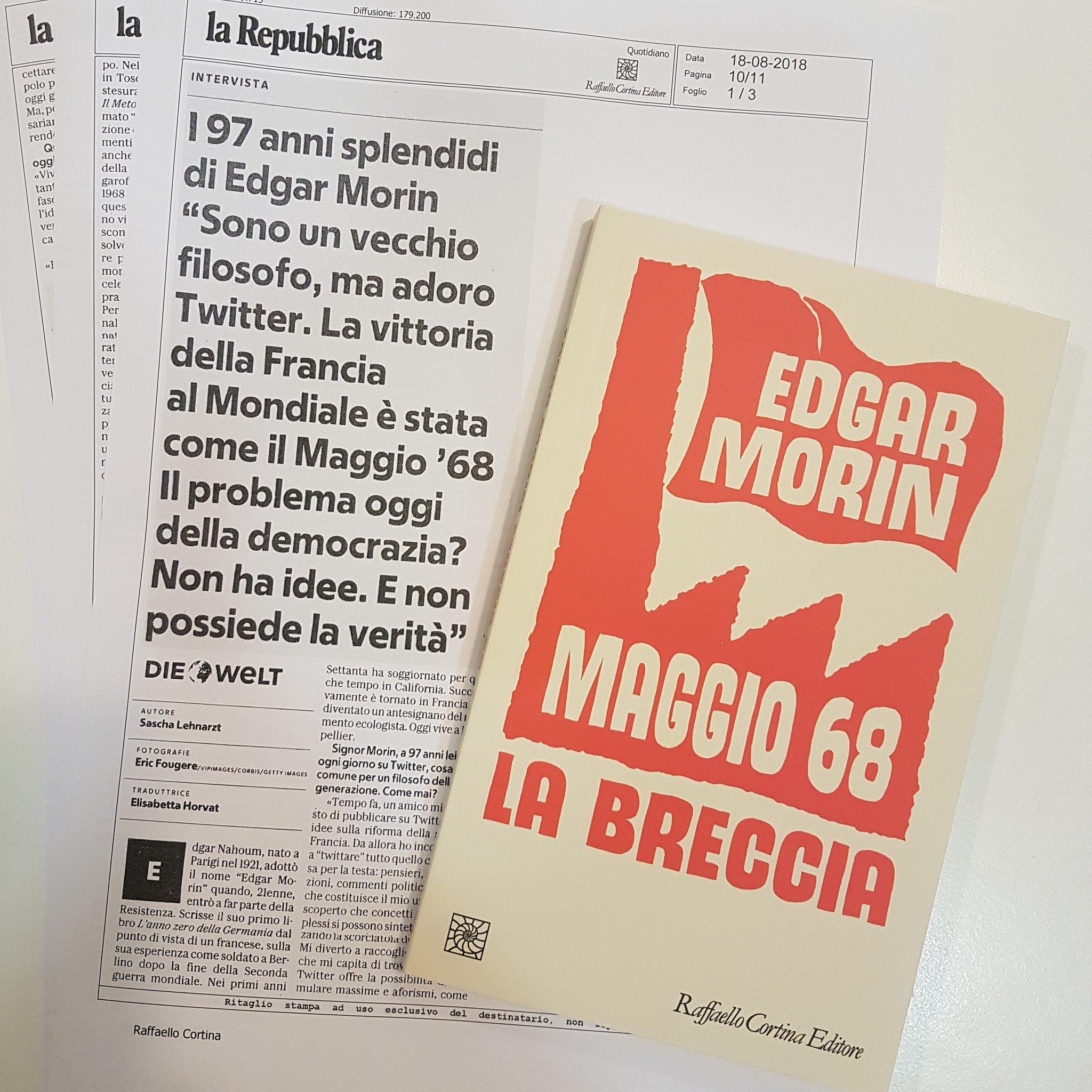 Qui @repubblica e @edgarmorinparis su #Maggio68 e @Twitter https://t.co/JDHZVXCpXi
