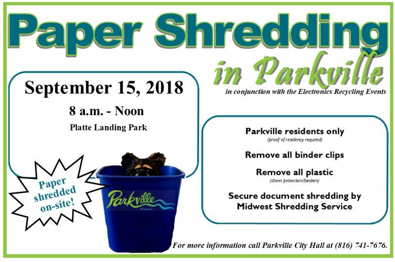 test Twitter Media - Recycling events @parkvillemo this Saturday! Electronics recycling, paper shredding (Parkville residents only) and @MARCKCMetro household hazardous waste events will be in Platte Landing Park from 8am to noon. @RecycleSpot https://t.co/OsGgMYsWlD