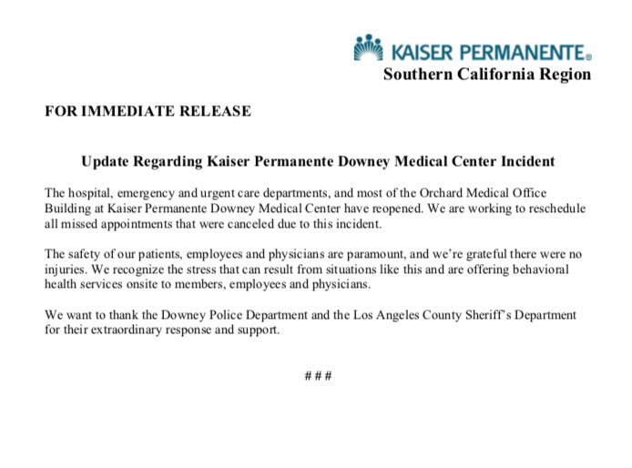Update Regarding Kaiser Permanente Downey Medical Center Incident