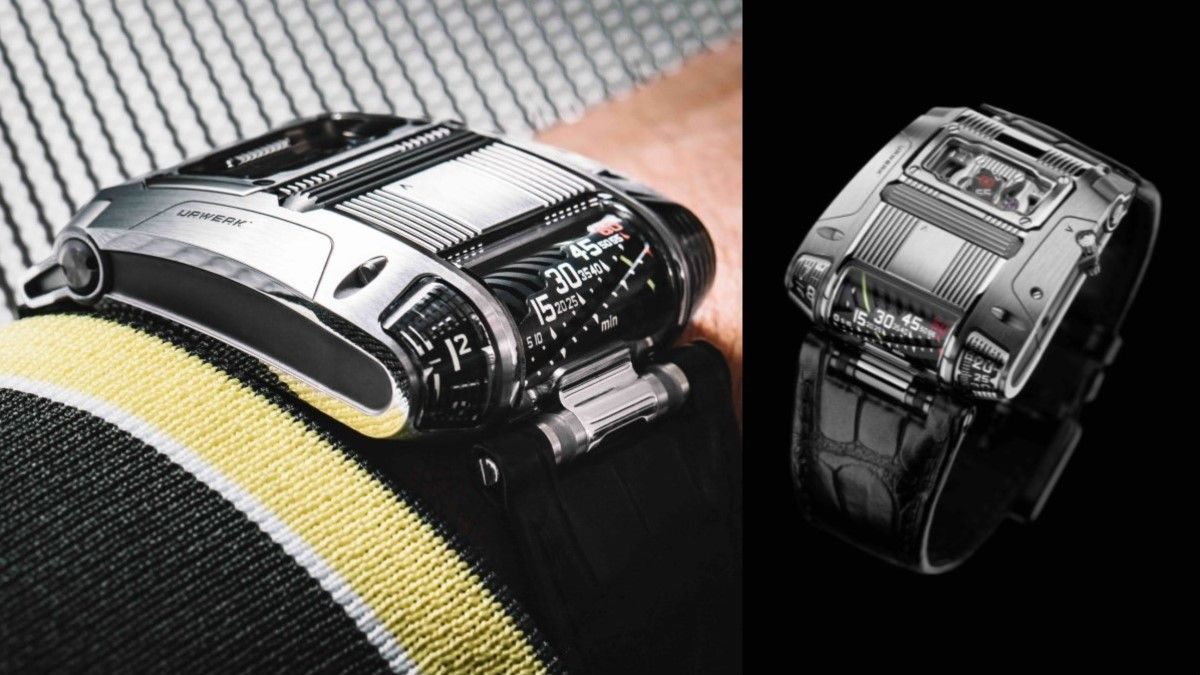 Behold Urwerk's new UR-111C, a descendant of the King Cobra, with jumping hours, retrograde linear minutes, digital minutes, digital seconds--and optic fibers. Made in gun metal or polished steel. @URWERK_Geneve #urwerkgeneve #iwmagazine https://t.co/8WdCDv9Qyf