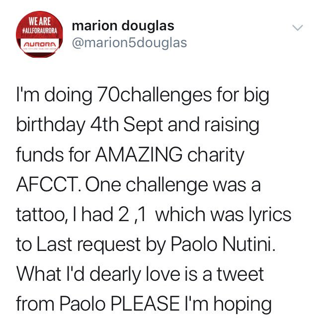can you help this amazing lady get a happy birthday from Paolo Nutini ??