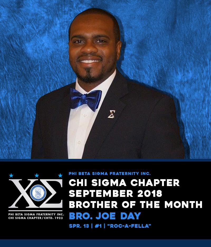 test Twitter Media - Please join me in congratulating one of the hardest working brothers in Chi Sigma. This brother has stepped up to chair one of the most visible committees in Chi Sigma.   Chi Sigma Chapter is recognizing Bro. Joe Day as Brother of the Month for September 2018. https://t.co/TBMbuoNboj