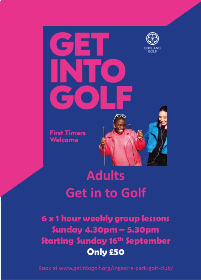 test Twitter Media - NEW Adults Get into golf course! Perfect for beginners. No experience needed. All equipment provided.  Learn to play golf in a fun, friendly, group enviroment at Ingestre Park Golf Club To book go to https://t.co/NuZ7XdW9s1 @MidlandsGolfer @staffsgolf @ChaseGrammar @EnglandGolf https://t.co/ki8j7rsl6Q
